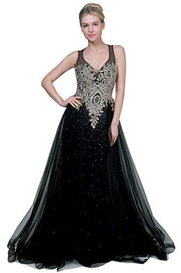 eDressit New Black&Gold V-Cut Tulle Formal Party Gown Dress (02191800)