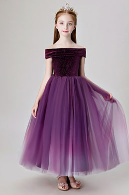 eDressit Purple Off Shoulder Wedding Flower Girl Dress (27206106)