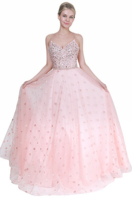 eDressit Lovely Pink V-Cut Sequins Tulle Party Evening Dress (00193201)