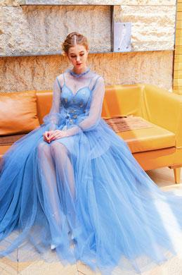 eDressit Blue High Neck Fairy Tulle Party Evening Dress (36222005)