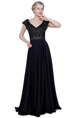 eDressit New Black V-Cut Beaded Cap Sleeves Party Evening Dress (02192400)