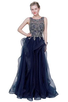 eDressit Blue Illusion Neck Lace Applique Tulle Party Ball Dress (02193005)
