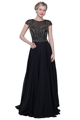 eDressit NEW Black Cap Sleeves Elegant Party Prom Dress (26192000)
