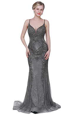 eDressit New Dark Grey V-Cut Beaded Gorgeous Party Ball Gown (00193108)