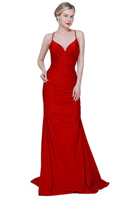 eDressit New Red Spaghetti V-Cut Long Elegant Party Evening Dress (00192602)