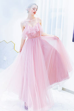 eDressit Pink Spaghetti Ruffle  Sequins Prom Party Dress (36222501)