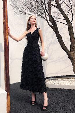 eDressit Unique Black Feather Lace Evening Party Dress (36221200)