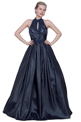 eDressit Blue Halter Beaded Shiny Open Back Party Dress (02194005)
