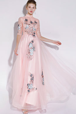 eDressit High Neck Pink/Grey Evening Dress Formal Wear (36217201)