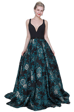 eDressit New Black V-Cut Print Puffy skirt Party Evening Dress (02194105)