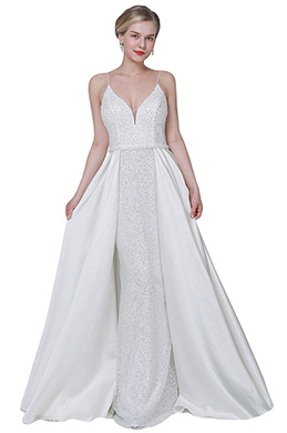 eDressit White Sexy V-Cut Sequins Overlay Party Wedding Dress (02192907)