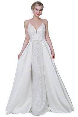 eDressit White Sexy V-Cut Sequins Overlay Party Wedding Dress (02192907)