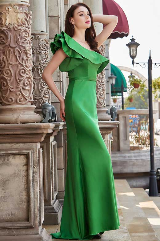 eDressit New Green One Ruffle Shoulder Long Party Evening Dress (00200604)