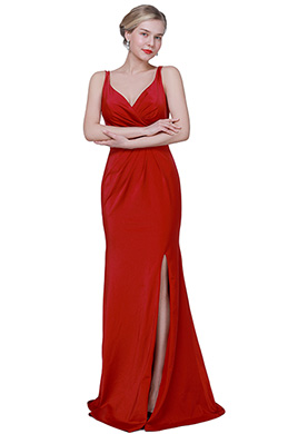 eDressit New Red V-Cut High Slit Elegant Party Evening Dress (00193002)