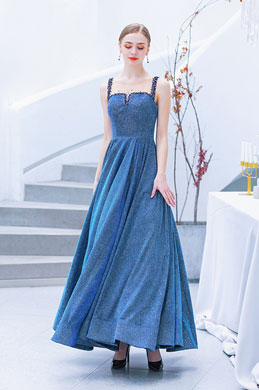 eDressit Blue Illusion Neck  Blue Beaded Party Prom Gown (36221105)