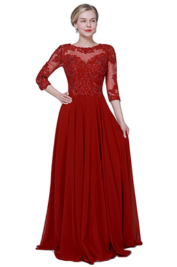 eDressit NEW Red Half Sleeves Formal Mother of Bride Dress (26192402)
