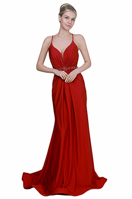 eDressit New Red Spaghetti Straps V-Cut Party Evening Dress (00192002)
