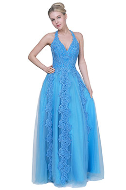eDressit New Blue Halter V-Cut Tulle Prom Evening Dress (00192405)