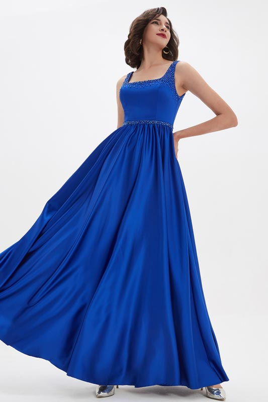 eDressit Sexy Blue Square Collar Open Back Long Party Evening Dress (00211005)
