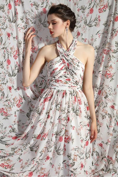 eDressit Halter Neck Printed Open Back Party Summer Dress (00205268)