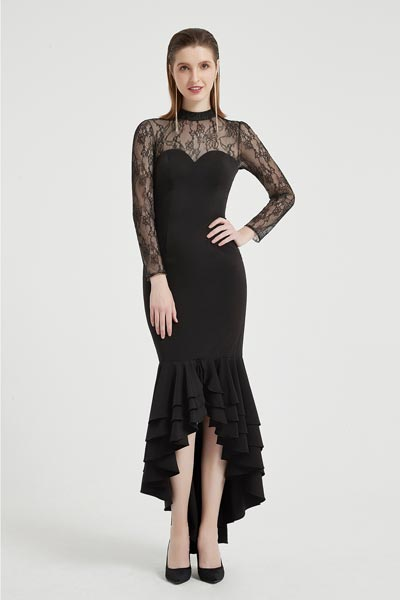 eDressit Black High Neck Lace Sleeves Ruffle Ball Dress (02203500)