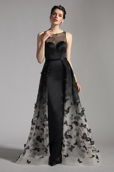 eDressit New Black Overlay Prom Gown Evening Dress (02204000)