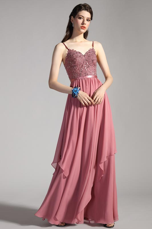 eDressit Spaghetti Straps V-Cut Beaded Party Evening Dress (00207646)