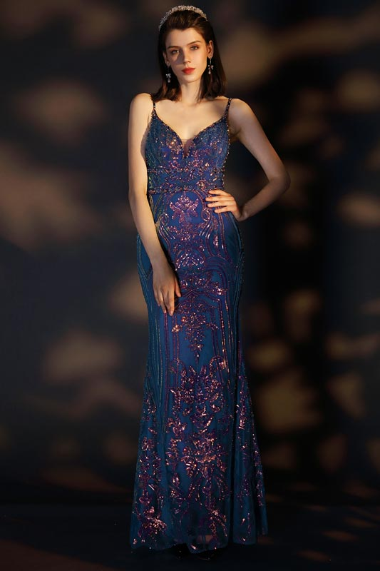 eDressit Blue Spaghetti V-Cut Gorgeous Beaded Party Prom Gown (02204505)