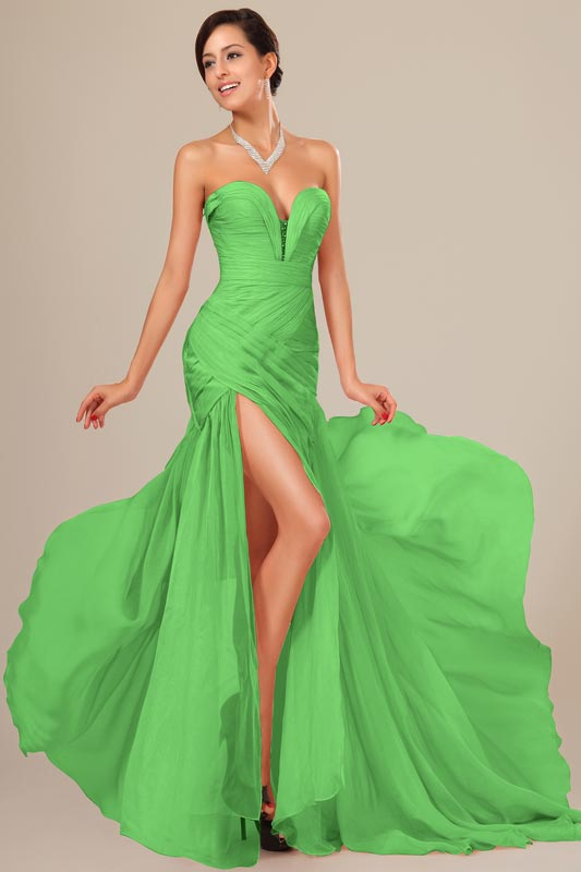 eDressit Green  Chiffon Ruched bodice Evening Dress (00120539)