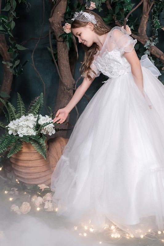 New Stunning Round Neckline Lace Flower Girl Dresses (T27008)