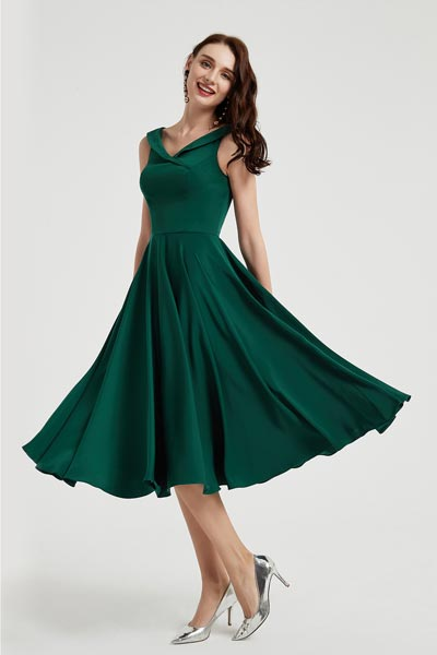 eDrerssit New Green Elegant Satin Tea Length Party Dress (04200104)