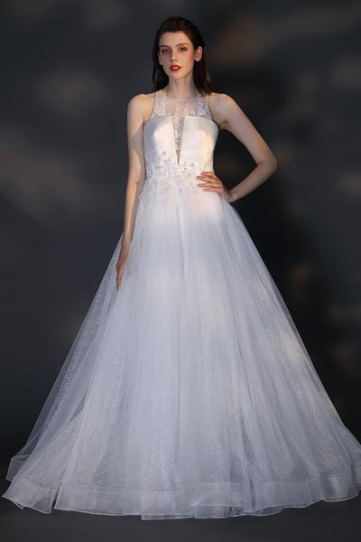 eDressit New Unique Top Design Sequins Tulle Wedding Dress (01201607)