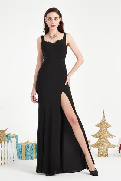 eDressit Black Straps High Slit Party prom Evening Dress (00204000)