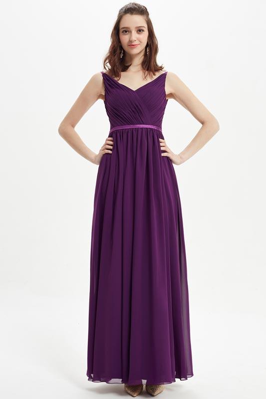 eDressit  Purple V-Cut Satin Wasitband Wedding Bridesmaid Dress (07215606)