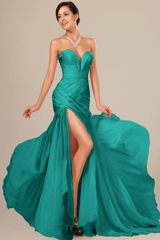 eDressit Green Best Selling Chiffon Ruched bodice Evening Dress (00120504)