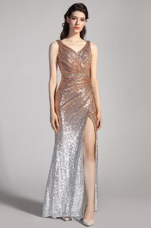eDressit Gradient Gold&Silver sequins High Slit Party Evening Dress (00205456)