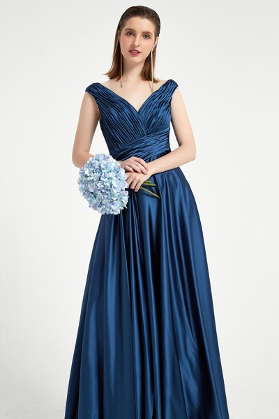 eDressit Sexy Blue V-Cut Neck pleated Elegant Top Party Ball Dress (00200405)