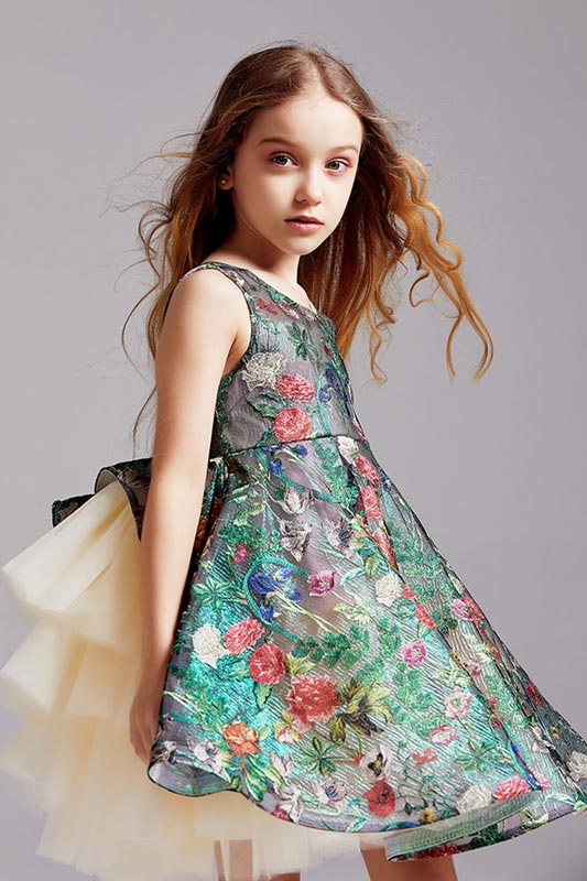 Princess Short Lace Embroidered Flower Girl Dresses (T27001)