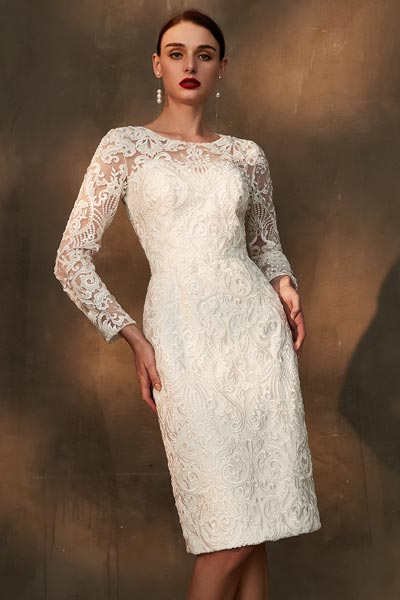 eDressit White Sleeves Lace Embroidery Fashion Party Dress (26200407)