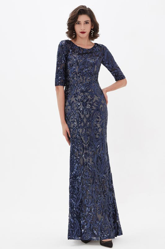 eDressit Blue Sequins Lace Half Sleeves Party Evening Dress (02211305)