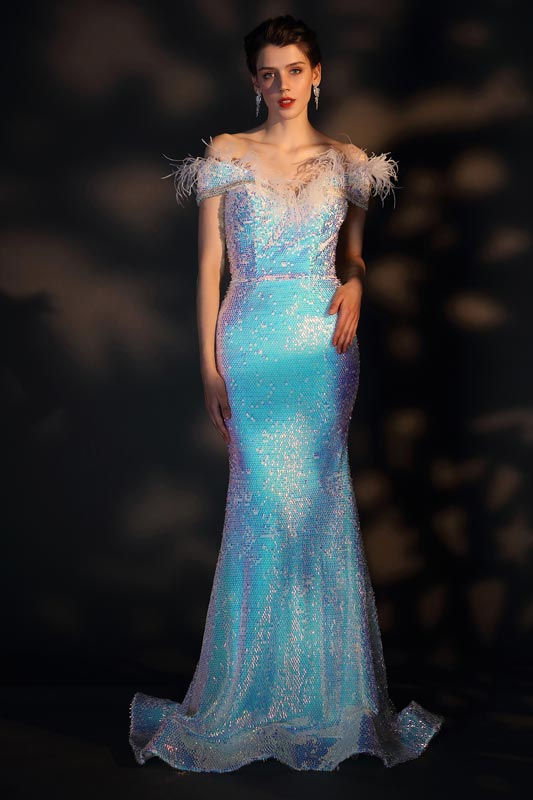 eDressit Unique Feather Off Shoulder Sequins Mermaid Evening Dress (02206556)