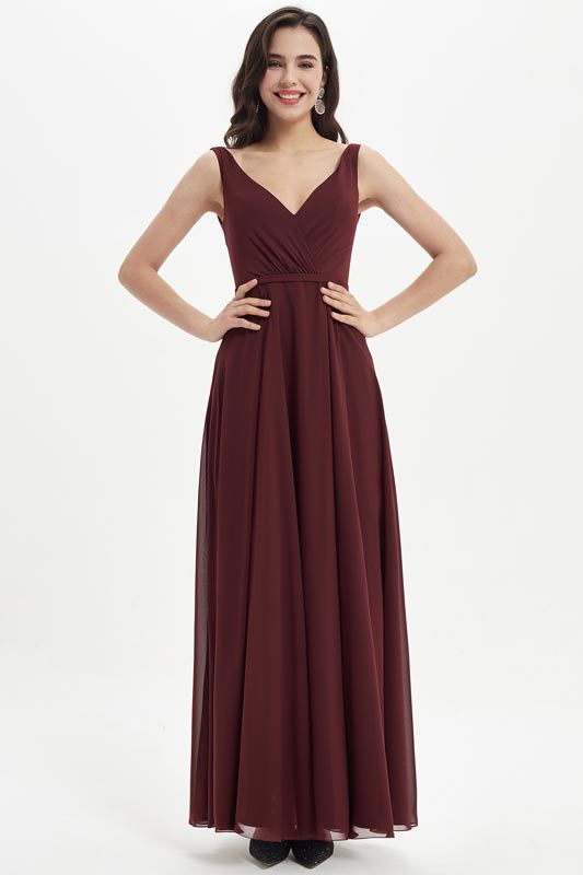 eDressit Burgundy V-Cut Straps Long Bridesmaid Dress (07214417)