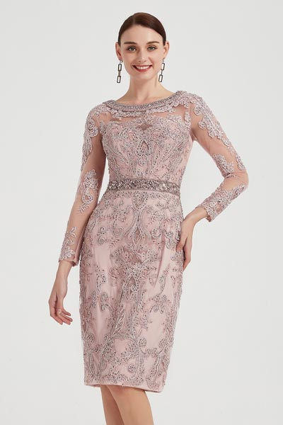 eDressit Beaded Round Neck Embroidery Mother of Bride Dress (26201046)