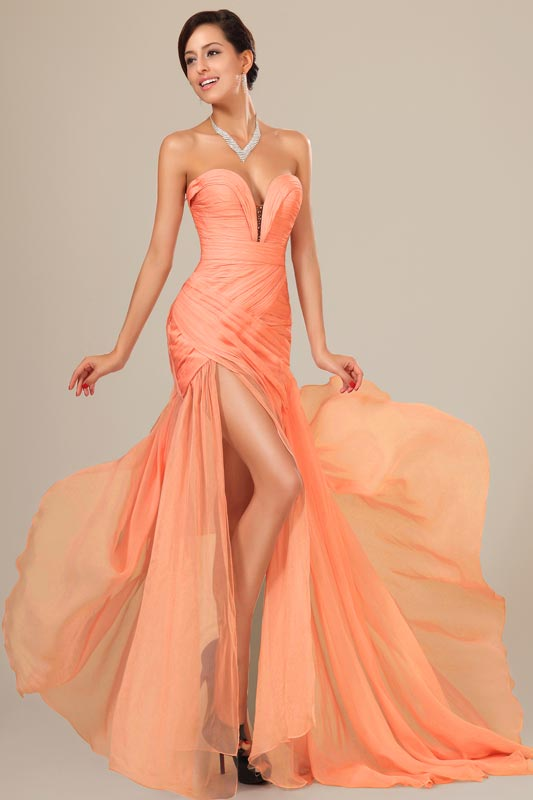 eDressit Orange Chiffon Corset Prom Party  Evening Dress (00120529)