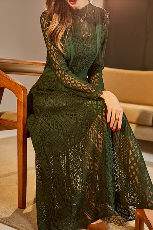 eDressit Green High Neck Sleeves Lace Appliques Long Dress (T000204)