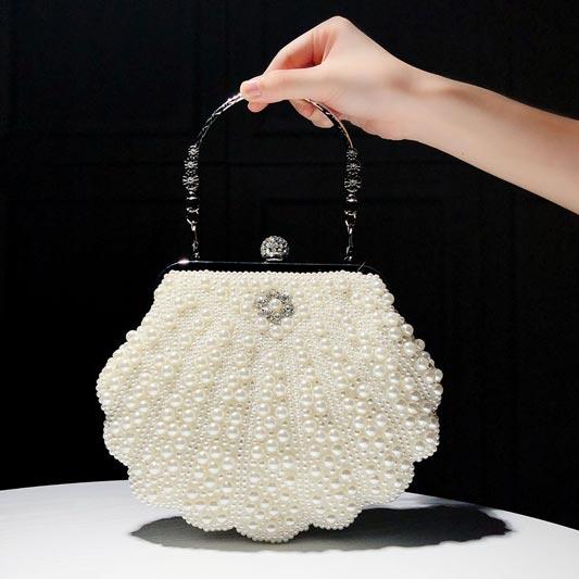 Womens Clutch Luxury Full Beaded Artificial Pearls Handbag (T08012)