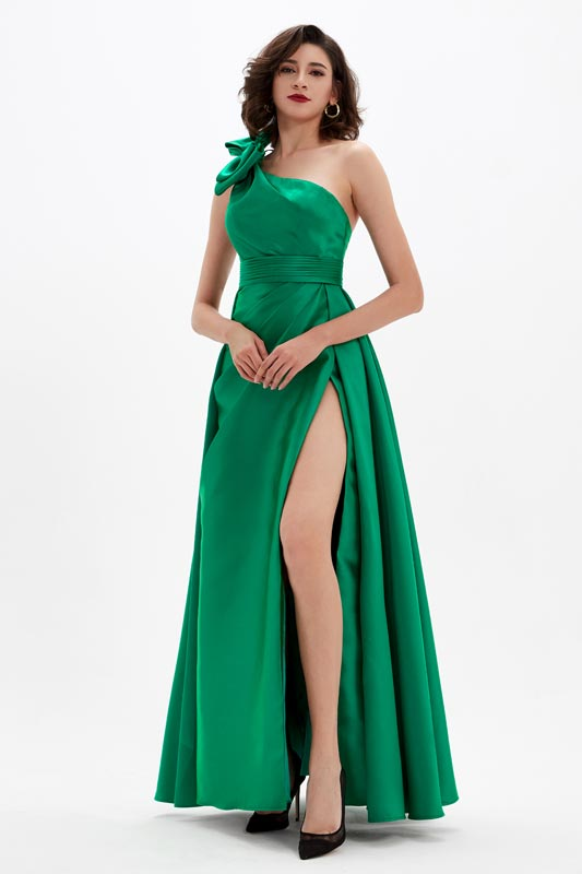 eDressit Green One Shoulder High Slit Long Party Prom Dress (00210304)