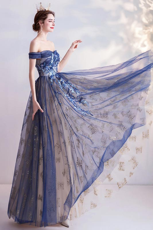 eDressit Blue Sexy OFF Shoulder Embroidery Tulle Party Evening Gown (36226705)