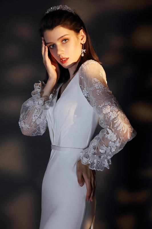 eDressit New V-Cut Long Lace Sleeves Wedding Bridal Dress (01202107)