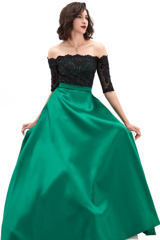 eDressit Green Off Shoulder Sleeves Lace&Mikado Long Prom Gown (02210304)